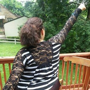 Black and light gray lace back shirt